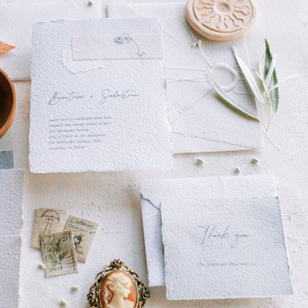 custom wedding invitations handmade paper