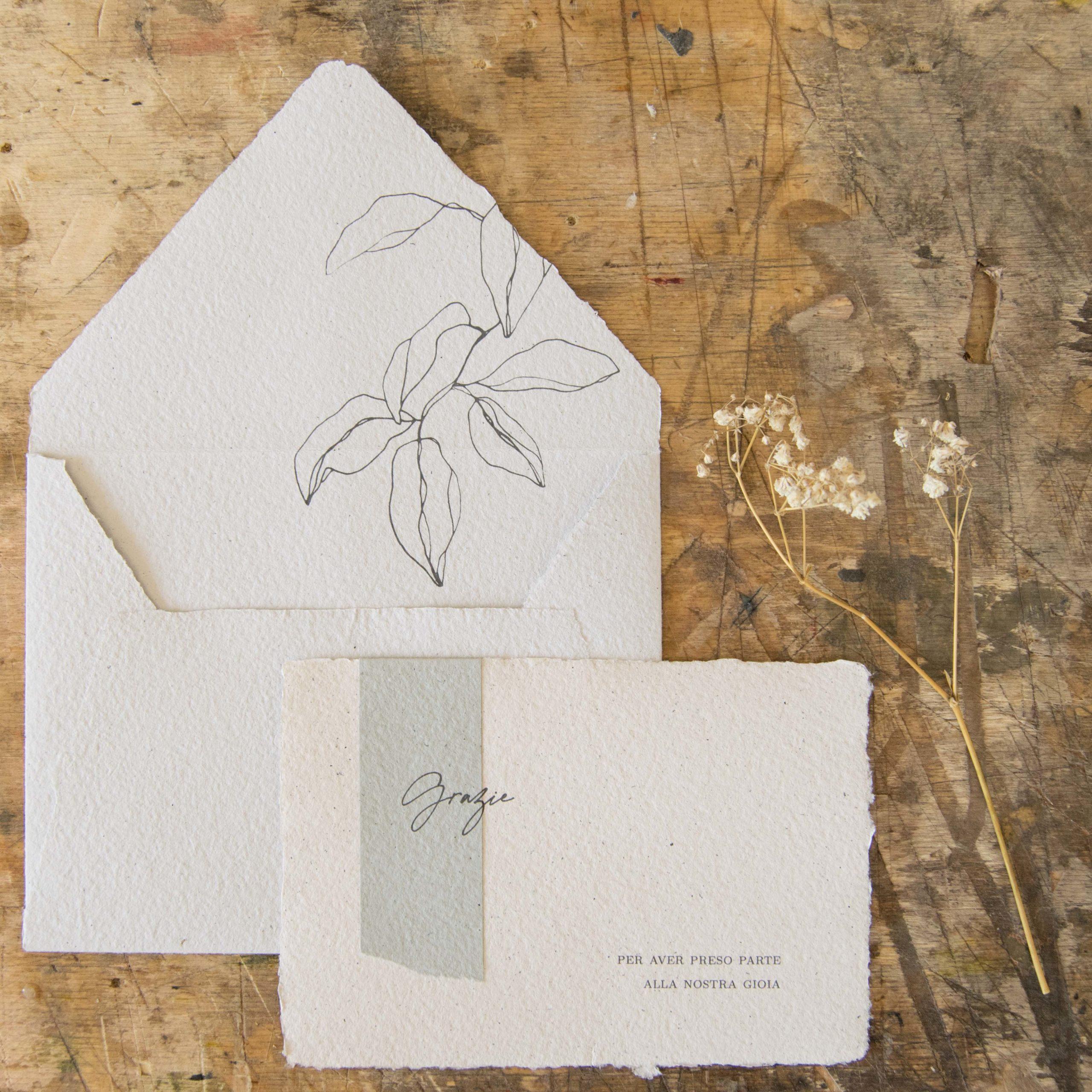 carta fatta a mano partecipazioni di matrimonio ecofriendly