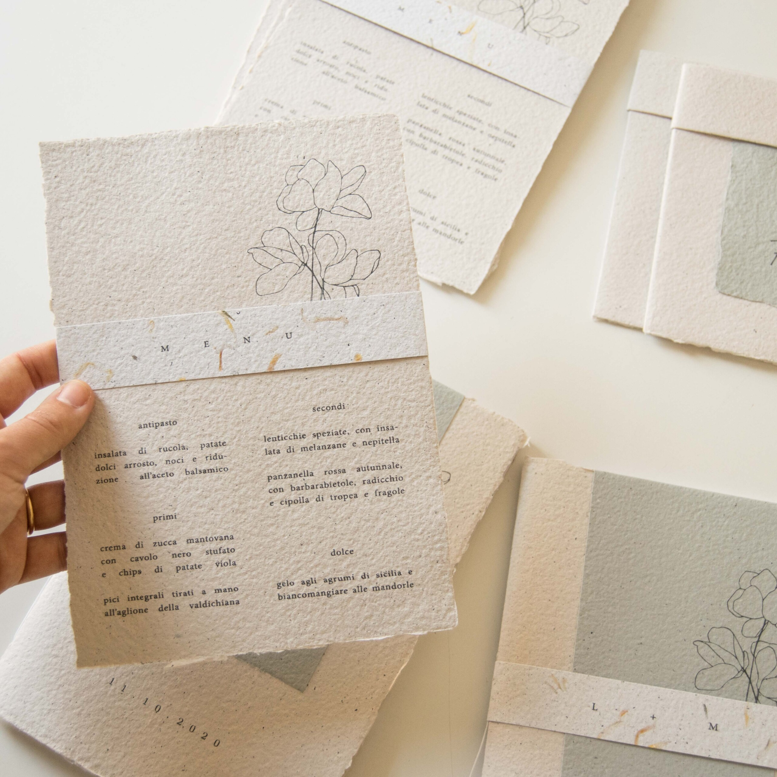 handmade paper custom eco friendly wedding invitations
